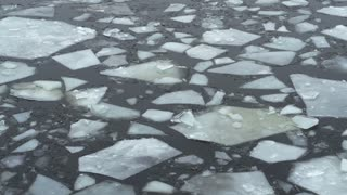 Frozen slabs of ice floating along time lapse