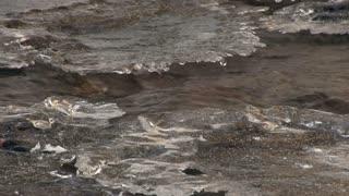 Frozen water in creek close up