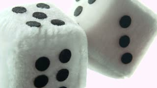Fuzzy dice in rear view mirror of car