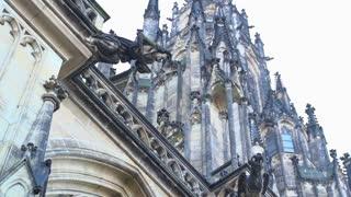 Gargoyle at St. Vitus Cathedral slow motion