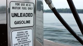 Gasoline Station on Side of Lake