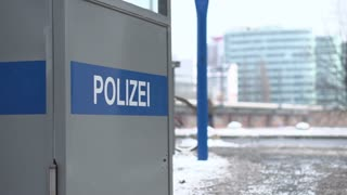 German Police booth near city street