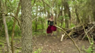 Girl chased through forest wearing dress 4k