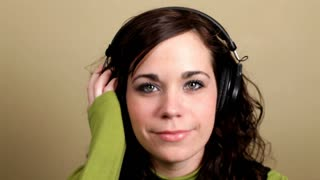 Girl with Headphones Bobbing Head