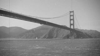 Golden Gate bridge vintage slow motion.
