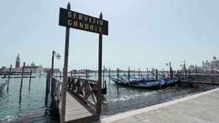 Gondola ride port in Venice Italy