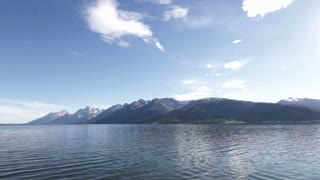 Grand Teton Mountains with lake in front