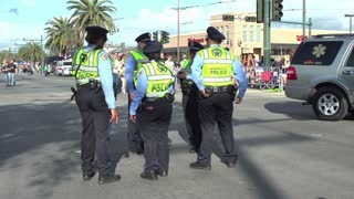 Group of New Orleans police standing on Endymion route