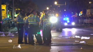 Group of police officers standing on Endymion route