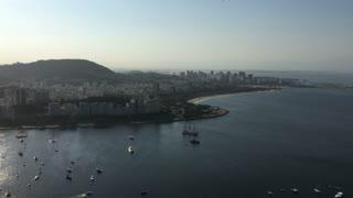 Harbor of Rio de Janeiro with boats on sunny day 4k