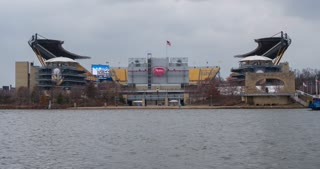 Heinz Field in Pittsburgh with boat going by 4k
