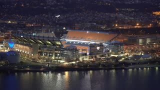 Heinz Stadium aerial establishing shot at night 4k