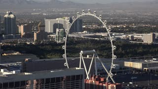 High Roller Ferris wheel seen from aerial view Las Vegas 4k