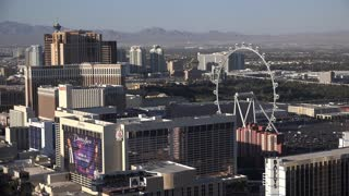 High Roller rotating in city of Las Vegas overview 4k