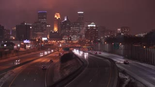 Highway traffic on 35W entering Minneapolis Minnesota at night 4k
