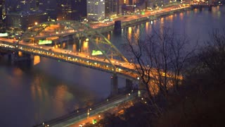 Hill side establishing shot with Fort Duquesne bridge in background 4k