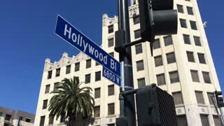 Hollywood boulevard street sign at intersection.
