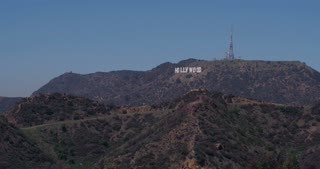 Hollywood sign in mountains 4k