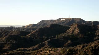 Hollywood sign on mountain in distance