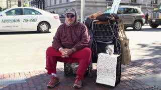 Homeless man in downtown Boston