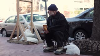 Homeless man in Georgetown Washington DC