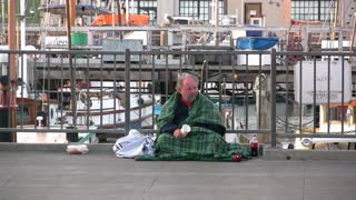Homeless Man with Cup
