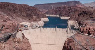 Hoover Dam wide angle view 4k.