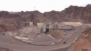 Hoover Dam wide angle view seen from mountain top 4k