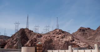 Hoover Dam with Transmission towers 4k