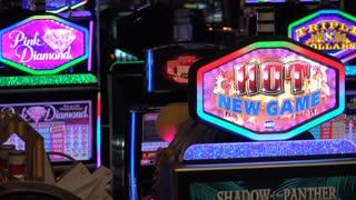 Hot New game sign at Casino slot machine 4k