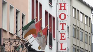 Hotel sign at European hotel 4k