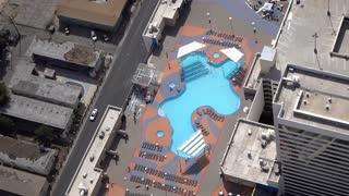 Hotel swimming pool in downtown Las Vegas 4k