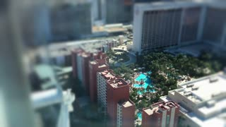 Hotel swimming pool seen from above