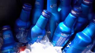 Ice cold bottles of bud light in cooler 4k