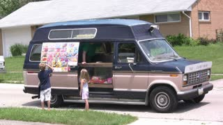 Ice Cream Truck selling to kids