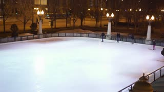 Ice skating rink in downtown Millennium Park Chicago 4k