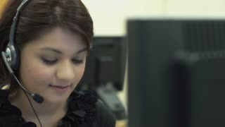 Indian woman working at call center