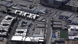 Industrial and neighborhood area in downtown Las Vegas aerial view 4k
