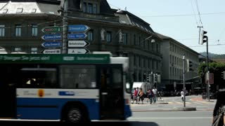 Intersection downtown Luzern Switzerland establishing shot