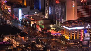 Intersection on busy Las Vegas Blvd at night overview 4k