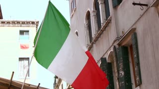 Italian flag blowing in wind