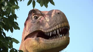 Jurassic like setting with dinosaur behind tree 4k