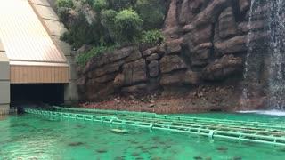 Jurassic Park ride at Universal Studios slow motion 720p