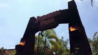 Jurassic park ride entrance at Universal Studios
