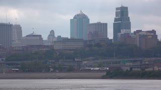 Kansas City downtown buildings seen from a distance 4k