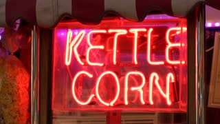 Kettle corn neon sign flashing