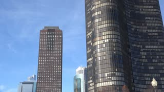 Lake point tower windows of building in downtown Chicago 4k