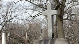 Large cross in cemetery