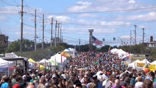 Large crowd of people at street festival 4k