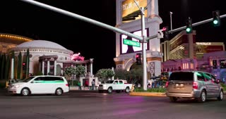 Las Vegas Blvd intersection in front of Caesars Palace 4k